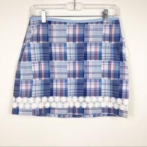 Vineyard Vines Blue Pink Patchwork Plaid Skirt NWT